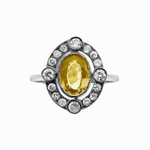 Vintage Yellow Sapphire & Diamond Cluster Ring - 0.80ct Oval Yellow Sapphire